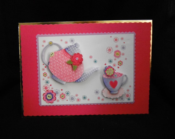Tea Time Card, Especially For You Card, Specaial Day Card, Special Birthday, Special Occasion Card, 3 D Decoupage Card,  Personalised