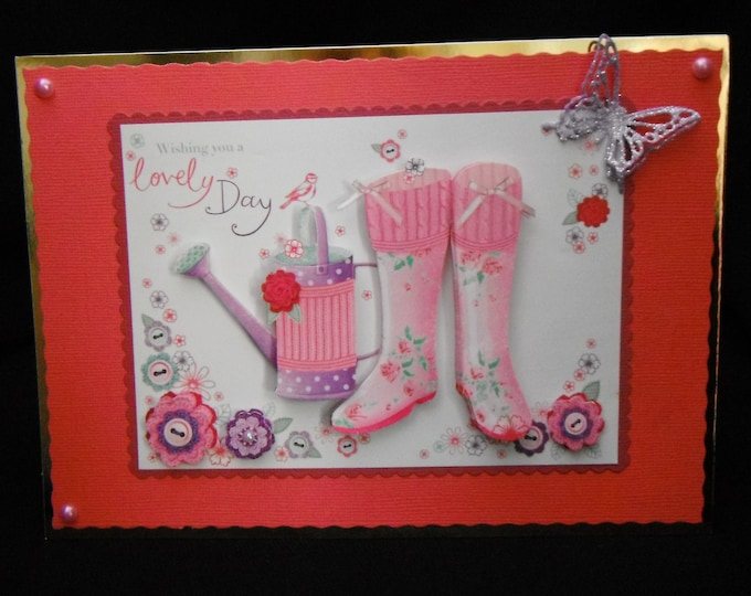 For the Gardener, 3D Decoupage Card, Wellies And Watering Can, Special Day Card, Especially For You, Special Birthday, Special Wishes