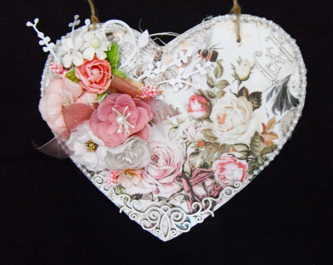 Shabby Chic Style Wooden Heart, Birthday Gift, Mother's Day Gift, Wedding Gift, Special Day, Especially For You, Handmade In The UK