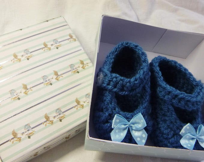 Hand Crochet Babies Bootees, Handmade, Blue Crochet Bootees, Boy or Girl, 0-3 Months, Gift Boxed