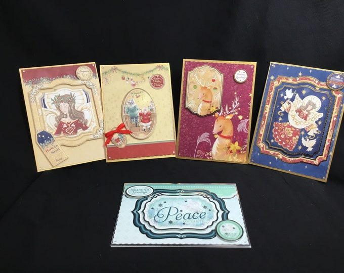Pack Of Five Traditional Christmas Cards, Seasonal Greetings, Festive Greetings, Time To Celebrate, Celebration Time, Handmade In The UK