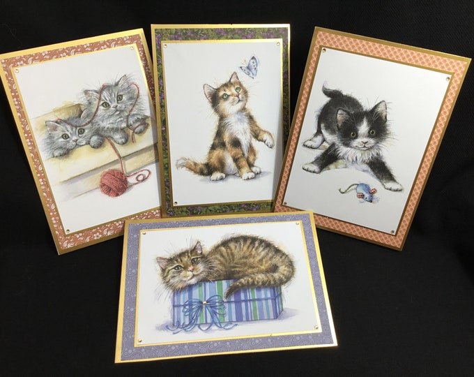 Cat Cards, Set Of 4 Cat Cards, Especially For You, Special DayCard, Birthday Card , Any Occasion Card, Handmade In The UK