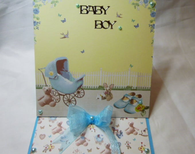 Baby Boy Card, Congratulations, New Born, New Arrival, Handmade Greeting Card, Easel Card