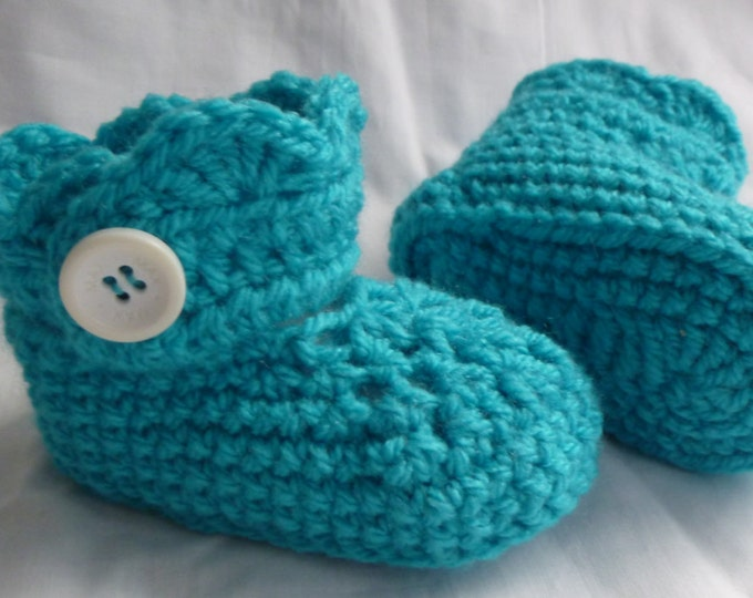 Baby Bootees, Hand Crochet, Handmade, Huggies Type Boottee, Boy or Girl, Aqua Blue, 6 to 9 months