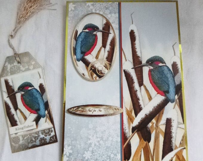 Kingfisher Christmas Card, Bird Card, Winter Scene, Seasons Greetings, Merry Christmas, Happy New Year, Free Book Mark,