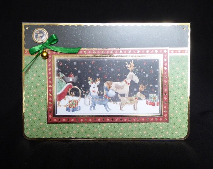 Reindog Christmas Card, Seasonal Greetings, Festive Card, Christmas Wishes, Christmas Greetings, Festive Fun, Handmade In The UK