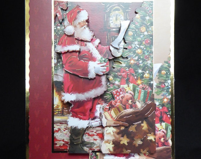 Santa 3D Decoupage Card, Santa with Presents, Christmas Greetings, Festive Greetings, Merry Christmas And Happy New, Handmade In The UK