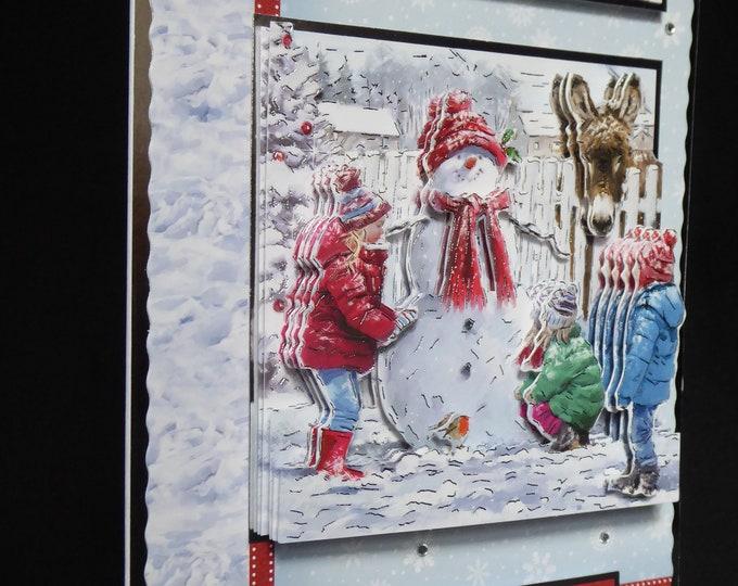 Children Making A Snowman, Winter Scene, 3D Decoupage Card, Winter Wishes, Seasonal Greetings, Christmas Greetings, Festive Greetings,