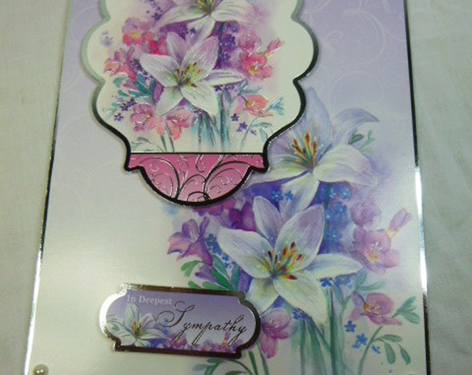 Sympathy Card, Sorry To Hear, Deepest Sympathy, Handmade Card, Lilac and Pink, Lilies and Fuchsias, My Condolences, Sorry To Hear