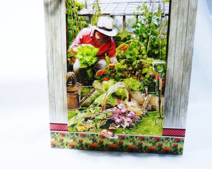 Gardeners Dream, 3D Decoupage Card, Fathers Day Card, Birthday Card, Greeting Card, Gardeners Paradise, Vegetable Garden, Male,