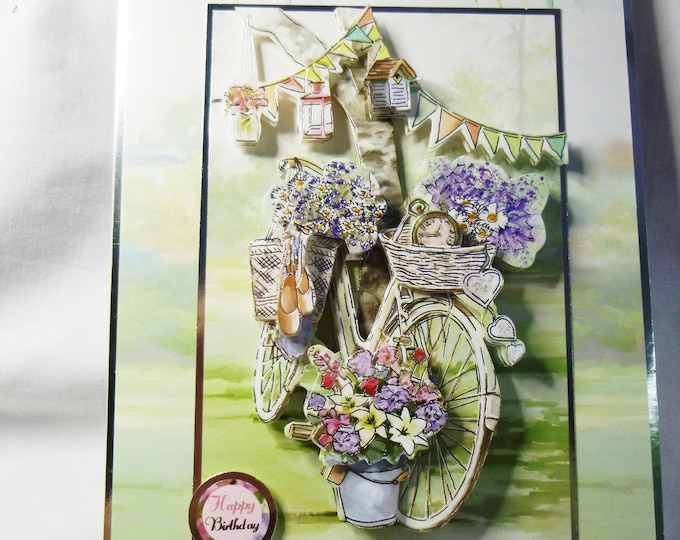 Bicycle 3D Decoupage Card, Birthday Card, Greeting Card, Bicycle with Baskets of Flowers, Female, Mum, Sister, Daughter, Niece, Aunt