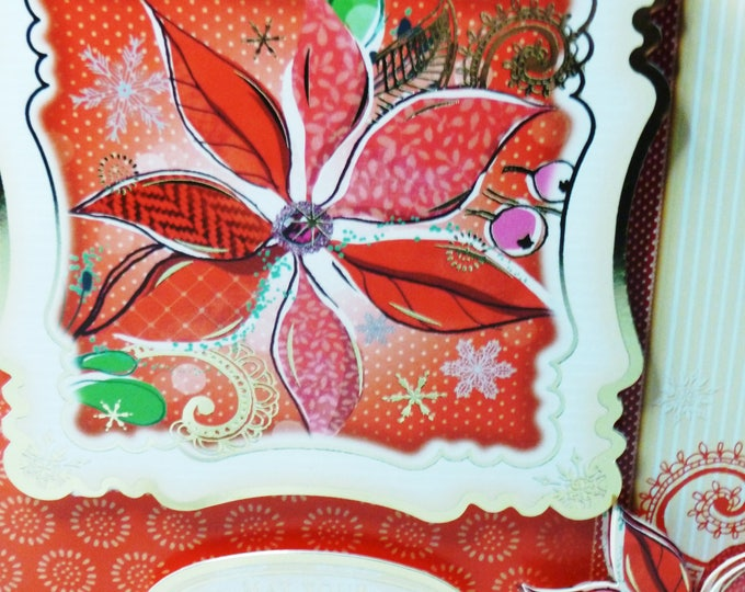 Poinsettia Christmas Card, Handmade In The UK Card, Red Poinsettia Flowers, Festive Card, Christmas Time, Festive Time, Seasonal Greetings
