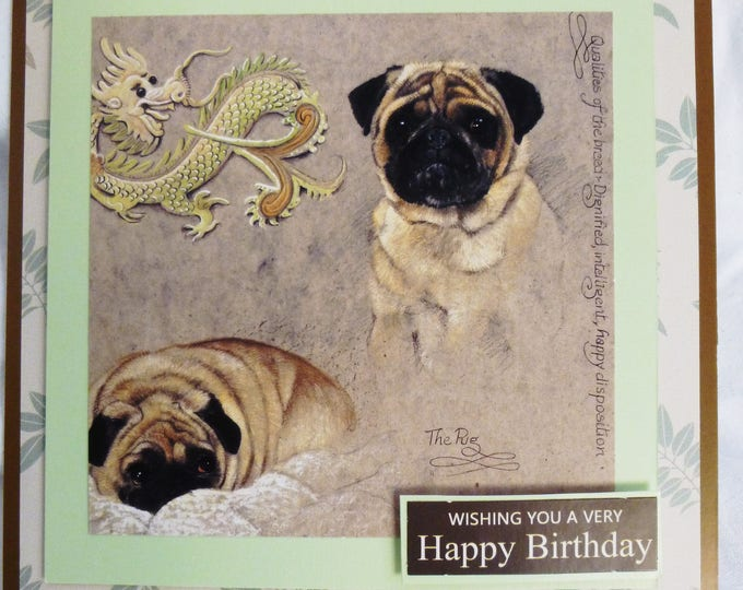 Dog Lovers Card, Pugs Birthday Card, Greeting Card, Animal Card, Dog Card, Special Birthday, Special Day Card, Especially For You