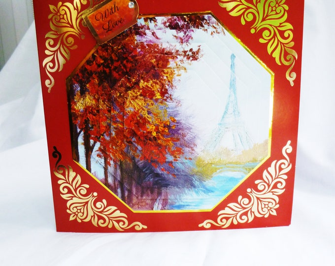 Country Scene, 3D Pyramid Decoupage  Card, Birthday Card, Greeting Card, Autumn Colours, Eiffel Tower, Male or Female, Any Age