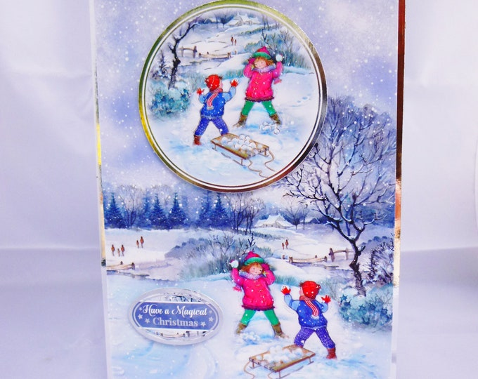 Snow Ball Fight, Christmas Greeting Card, Winter Snow Scene, Children Playing In The Snow, Magical Christmas Time