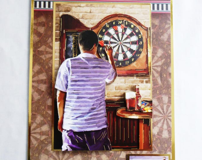 Pub Game 3D Decoupage Card, Birthday Card, Darts Game, Bulls Eye, Pub Scene, Male, Any Age, Dad, Son, Brother, Nephew,