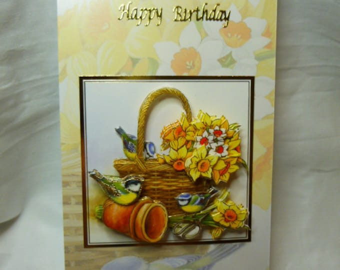 Daffodils, Blue Tits, Small Birds, Special Birthday, Especially For You, Special Day, Birthday Wishes, 3D Decoupage, Floral Card, Bird Card