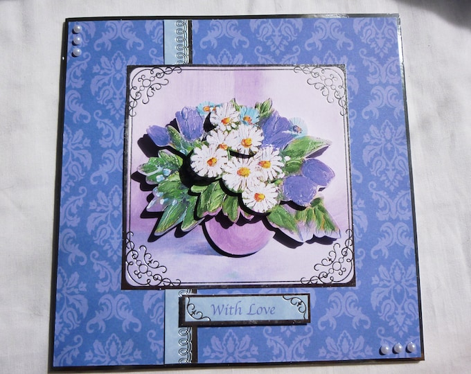 Bright Floral 3D Decoupage Card, Birthday Card, Greeting Card, Blue and White Flowers, Special Birthday Card, Personalised, Handmade