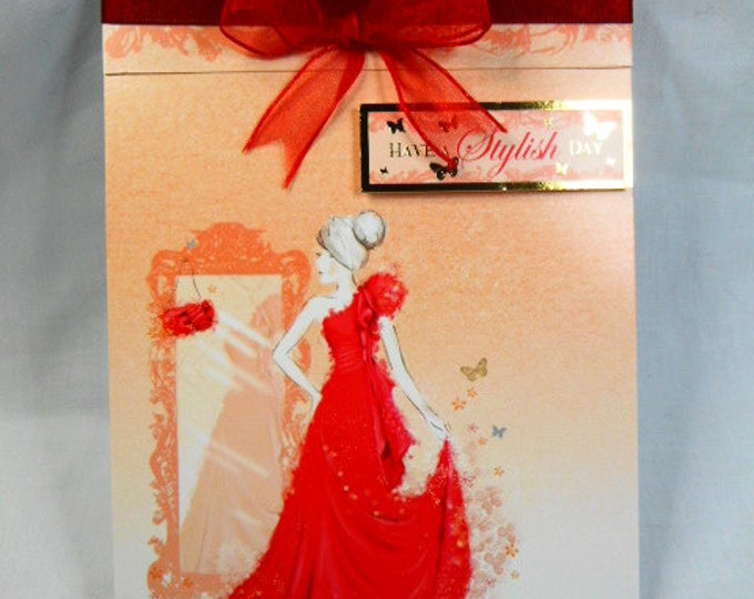 Lady in Red Dress, Birthday Card, Greeting Card, Elegant Lady in a Red Dress, Especially For You, Special Day, Handmade In The UK