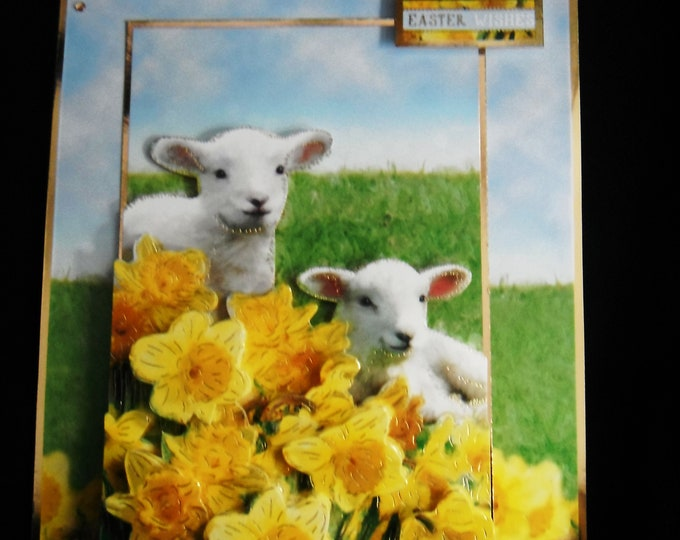 Spring Lambs, Easter Wishes, Animal Card, 3D Decoupage Card, Easter Greetings, Handmade In The UK, Personalised