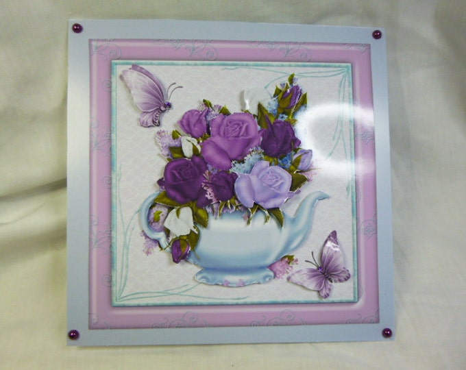 3 D Decoupage,  Greeting Card, Birthday Card, Thank You Card, Any Occasion Card, Purple and Lilac Flowers and Butterflies, Special Birthday