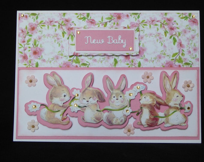 New Baby Card, New Arrival Card, Its A Girl, Especially For You, New Baby Decoupage Card, Birth Greetings, Congratulations, Handcrafted