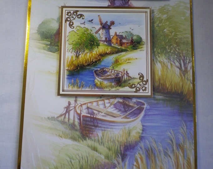 Boat and River Scene, Retirement Card, Greeting Card, Countryside, Countryside River, Windmill And Boats, Special Day Card,