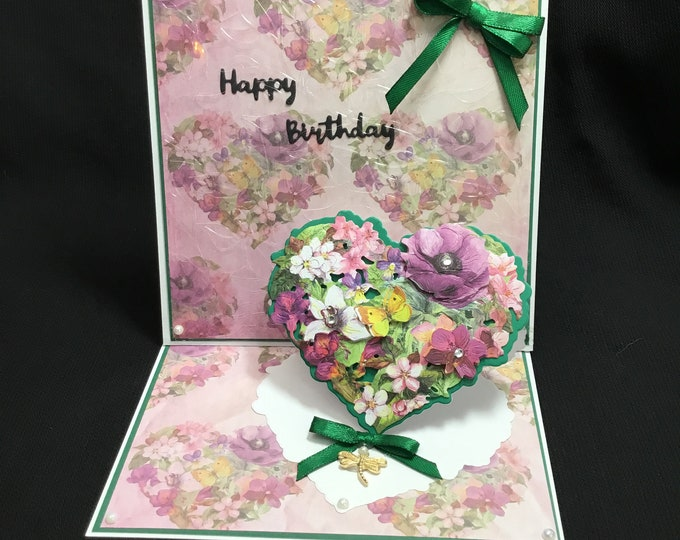 3D Decoupage Floral Easel Card, Especially For You, Special Day Card, Special Birthday, Celebrate Your Day, Handmade In The UK