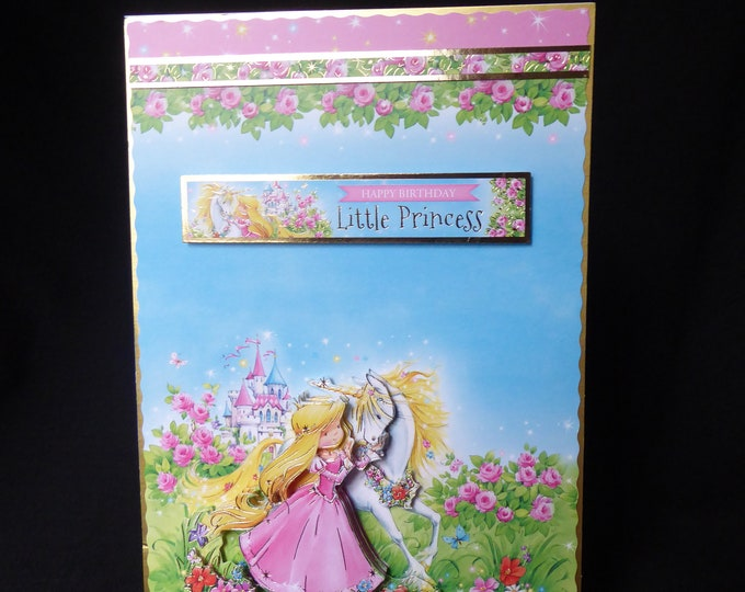 Princess And A Unicorn Card, 3D Decoupage Card, Little Princess, Special Birthday, Especially For You, Birthday Greetings, Handmade