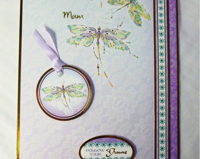Oriental Style Birthday Card, Mothers Day Card, Greeting Card, Dragonflies, Special Birthday, Especially For You, Lilac and Pearls, Handmade