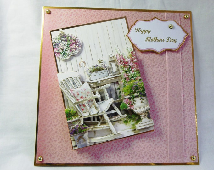 Mother's Day Card, 3 D Decoupage Card, Greeting Card, Female. Any Age, Rocking Chair and Flowers, Pink and Gold. Mother, Mum