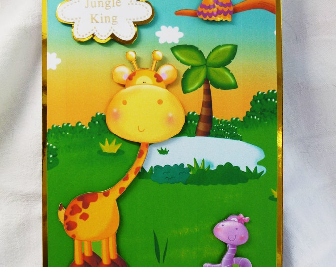 Jungle King Children's Birthday Card, 3 D Decoupage Card, Giraffe, Snake and Bird, Any Age, Boy Card, Have it Personalised