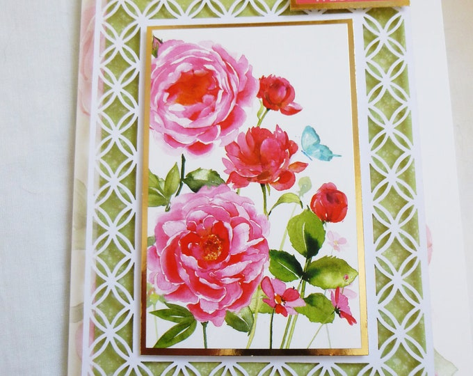 Filigree Birthday Card, Greeting Card, Decoupage Card, Floral with Roses, Female, Any Age, Mother, Daughter, Sister, Niece, Aunt, Friend