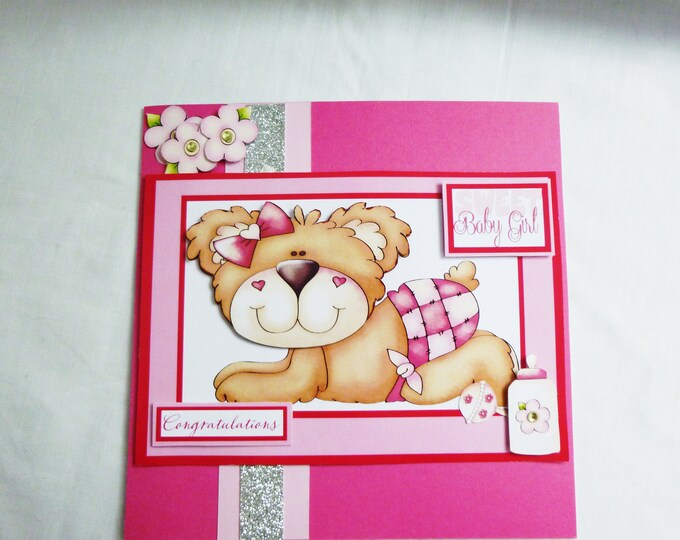 3 D Decoupage Card, New Arrival, New Born, Baby Girl, Sweet Baby Girl, Teddy Bear in Pink,