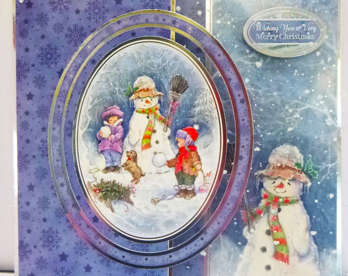 Snowman Christmas Card, Merry Christmas Card, Festive Card, Seasonal Greetings, Celebration Card, Handmade In The UK