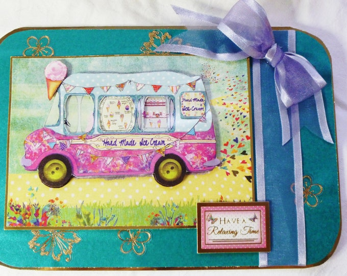 Ice Cream Van, 3D Decoupage Card, Greeting Card, Birthday Card, Special Birthday, Special Day, Especially For You, Celebrate Your Day