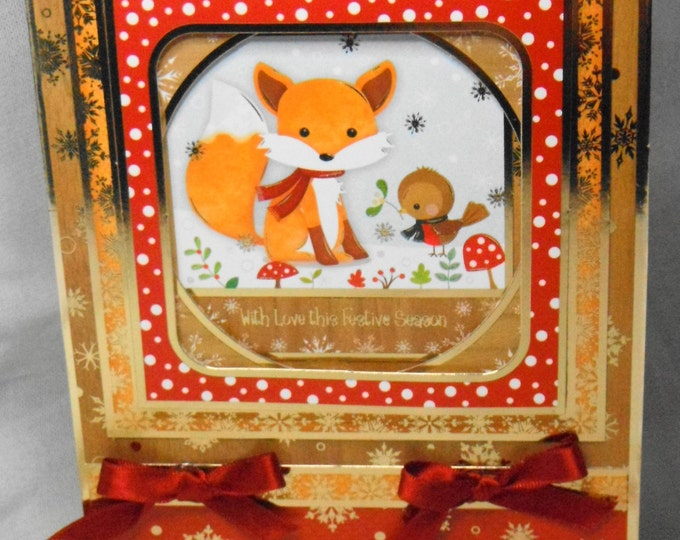Fox and Robin Christmas Card, Handmade Card, Greeting Card, Cute Card, Male or Female, Any Age, Mum, Dad, Sister, Brother, Son, Daughter,