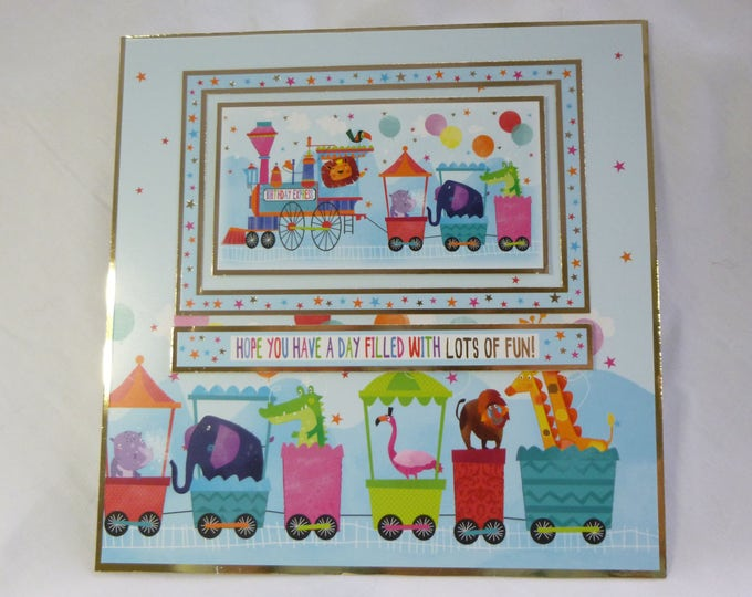 Animals On A Train, Children's Card, Birthday Card, Special Birthday, Add A Number, Colourful and Bright Card, Personalised,