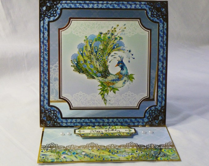 Oriental Style Birthday Card, Special Birthday Card, Easel Card, Gold and Blue, Peacock bird, Especially For You, Celebrate Your Day