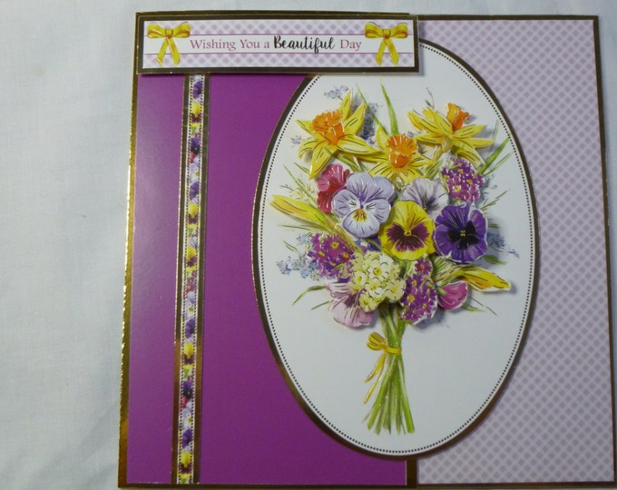 3D Decoupage, Spring  Flowers Birthday Card, Greeting Card, Purple and Pink, Mum, Mother, Sister, Daughter, Niece, Aunt, Friend