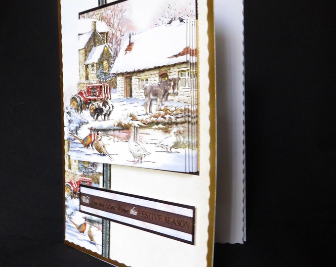 Farm Yard Scene, Country Scene, Winter Scene,  3 D Decoupage Card, Festive Season, Seasonal Greetings, Handmade In The UK