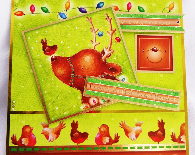 Reindeer Card, Modern Fun Christmas Card, Greeting Card, Bright Colours, Rudolph The Red Nose Reindeer, Robins, Male or Female, Any Age,