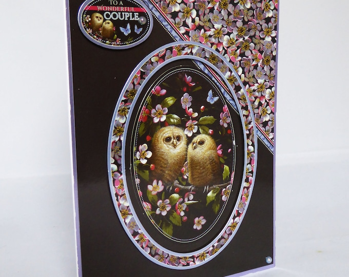 Two Owls Together, Happy Couple, Anniversary Card, Wedding Card, Special Day Card, Celebration Card, Handmade In The UK,