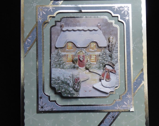 A 3D Decoupage Christmas Card, Cozy Cottage, Seasonal Greetings, Christmas Time, Festive Celebrations, Christmas Time, Handmade In The UK