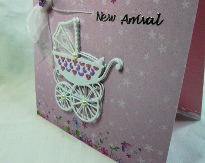 Newborn Card, New Baby, New Arrival, Baby Girl,  Pink Card, Greeting Card, Just Arrived, Little Girl, Special Delivery