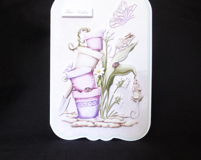 Flower Pots And Mice, 3 D Decoupage Card, Best Wishes, Especially For You, Special Birthday, Special Day, Celebrate Your Day, Handcrafted