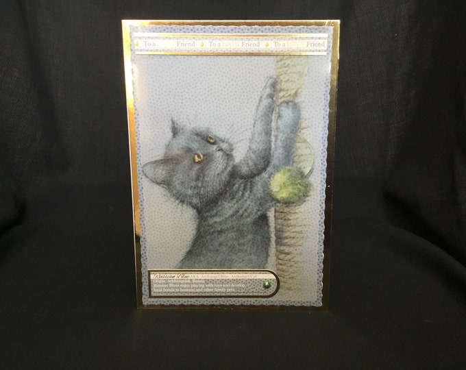 A Russian Blue Cat Card, Animal Card, Cat Card, Especially For You, Special Birthday Card, Special Day, To A Lovely Friend,
