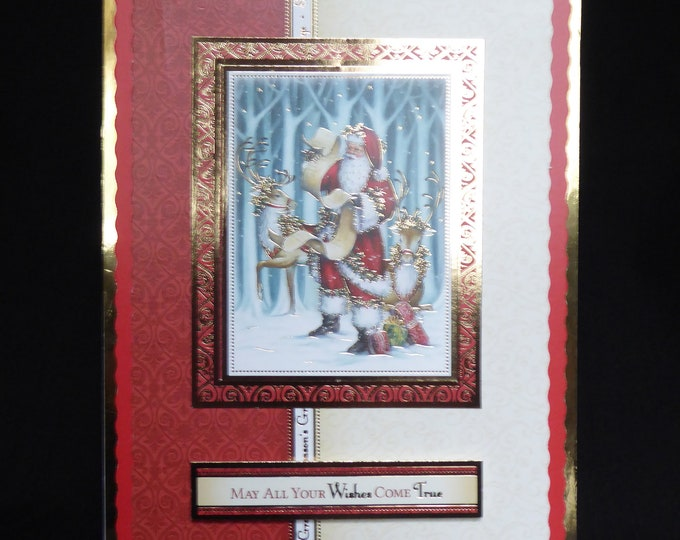 Vintage Style Christmas Card, Santa And Reindeer, Seasons Greetings, Festive Celebrations, Handmade In The UK, Christmas Greetings