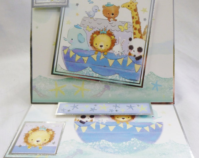 New Baby Card, Baby Boy, Congratulations, New Arrival, Easel Shaped Card, Animals In A Boat, Personalised, Add A Number