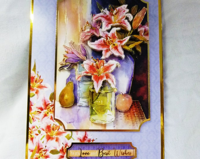 Lilies in a Vase, 3D Decoupage Card, Best Wishes Card, Special Birthday Card, Anniversary Card , Special Day, Especially For You, Handmade